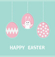 cute rabbit hare with tie bow three painting egg vector image vector image