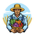 farmer holding a basket full of vegetables vector image