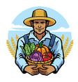 farmer holding a basket full of vegetables vector image vector image