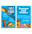 fast food snacks and meals menu sketch poster vector image vector image