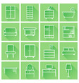 furniture icons set flat with long shadow on vector image vector image