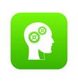gears in human head icon digital green vector image vector image