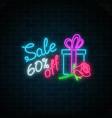 glowing neon banner of 8 march big sale on dark vector image vector image