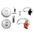Golf equipment and players vector image