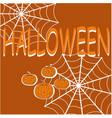 halloween with pumpkins spider web vector image