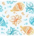 hand drawn pattern starfishes and shells vector image