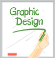 Hand with shadow drawing on a white table vector image vector image