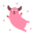 happy dog cartoon funny pink puppy jump in hearts vector image