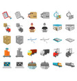 logistics and delivery cartoonmonochrom icons in vector image vector image