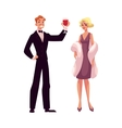 Man and woman in 1920s style clothes at vintage vector image vector image