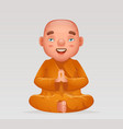meditation cute buddhist sitting monk traditional vector image