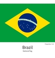 National flag of Brazil with correct proportions vector image