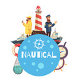 nautical cartoon concept vector image vector image