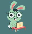Nerd Bunny in Front of a Computer vector image vector image