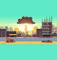nuclear bomb explosion in ruined city vector image