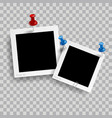 retro realistic photo frame with pin isolated vector image vector image