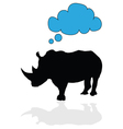 rhino with speech bubble vector image