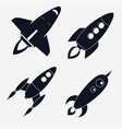 rocket ships start up flat style set vector image