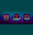 seafood set neon logo icons vector image vector image