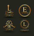 set of luxury golden badges and stickers royal vector image