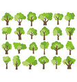 set of twenty four different cartoon green trees vector image