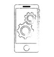smartphone device with gears vector image vector image