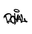 sprayed royal font graffiti with overspray in vector image