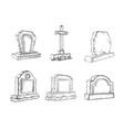 stone tombstones sketch set gravestone vector image