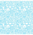 Thin Smart House Line Seamless White Pattern vector image vector image