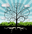 tree - curled abstract tree on landscape vector image vector image