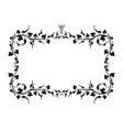 vintage black frame with crown and with blank vector image vector image