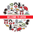 welcome to japan traveling japanese symbols vector image