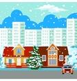 Winter cityscape buildings vector image vector image