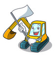 with flag excavator mascot cartoon style vector image vector image