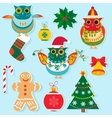 Christmas icons flat color design New year vector image