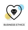 business ethics icon with diamond and heart on vector image