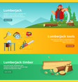 horisontal banners of sawmill theme vector image