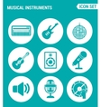 set of round icons white Musical instruments vector image