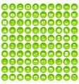 100 luggage icons set green circle vector image