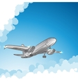 Airliner in sky vector image vector image