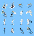 astronauts isometric icons collection vector image vector image