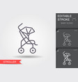baby stroller line icon with editable stroke vector image vector image