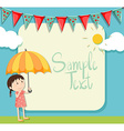 Border design with girl and umbrella vector image