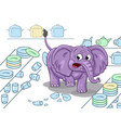cartoon of a clumsy elephant in a china shop on vector image vector image