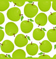 cartoon seamless pattern with green apples vector image vector image