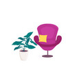 chair furniture armchair with pillow and pot of vector image