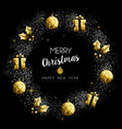 Christmas and New Year gold holiday wreath vector image vector image