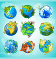 colorful earth planet collection vector image