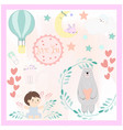 cute cartoon baby shower cardtoddler theme vector image vector image