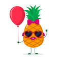 cute pineapple cartoon character sunglasses hearts vector image vector image